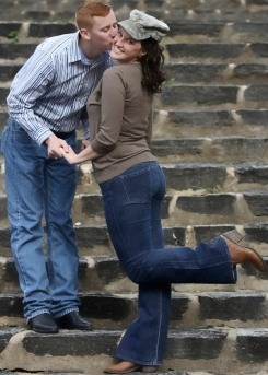 Kiss on stairs