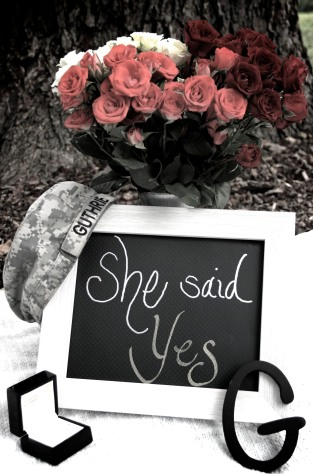 she said yes, Flowers, ring letter