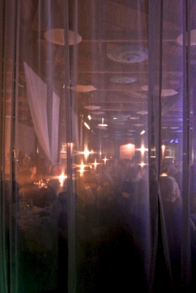 Through the white curtain