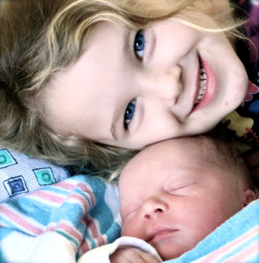 Sister and new baby brother