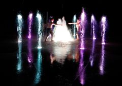 Dancing in the waterfall after dark